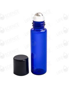5 ml Slimline Cobalt Blue Glass Bottle with Steel Roll-on (6-pack)