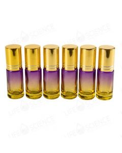 5 ml Faded Purple to Yellow Glass Bottle Steel Roll-on with Gold Lid (6 Pack)
